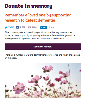 Alzheimer's Research UK In Memory Pages