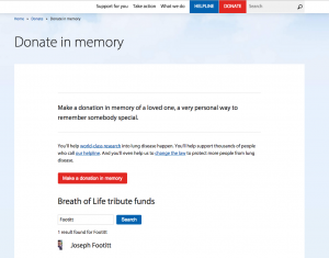 British Lung Foundation Tribute Search Widget