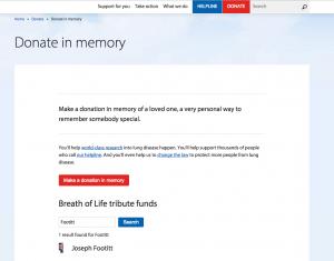 British Lung Foundation Tribute Search Widget