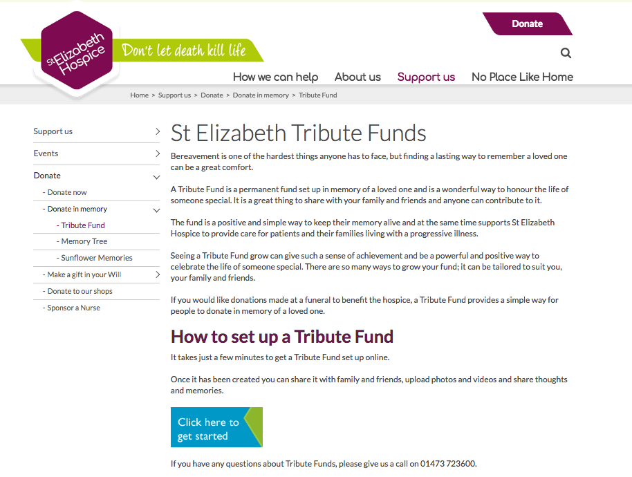 St Elizabeth Hospice, Tribute Funds